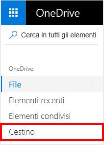 Selezione del Cestino in OneDrive