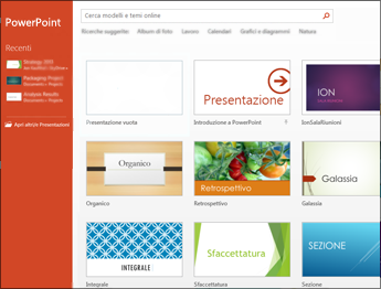 Schermata Start di PowerPoint 2013