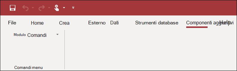 Schermata della barra multifunzione dei componenti aggiuntivi in Access