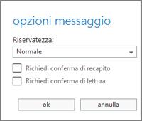 Visualizzare le opzioni del messaggio