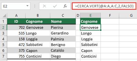 Usa l'operatore @ e copia giù: = VLOOKUP (@ A:A, A:C, 2, FALSE). Questo stile di riferimento funzionerà nelle tabelle, ma non restituirà una matrice dinamica.