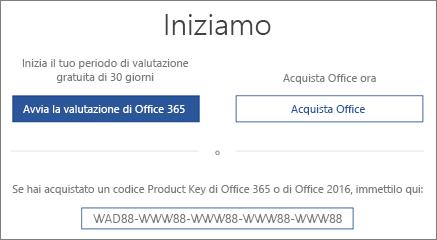 """Mostra la schermata """"Iniziamo"""" che indica che una versione di valutazione di Office 365 è inclusa nel dispositivo"""