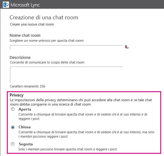 Immagine della finestra Crea chat room con le opzioni di appartenenza in evidenza