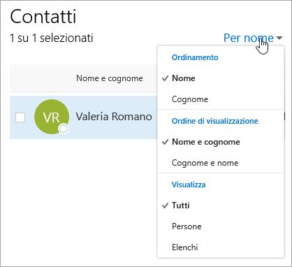 Screenshot del menu a discesa per il filtro nella pagina Persone.