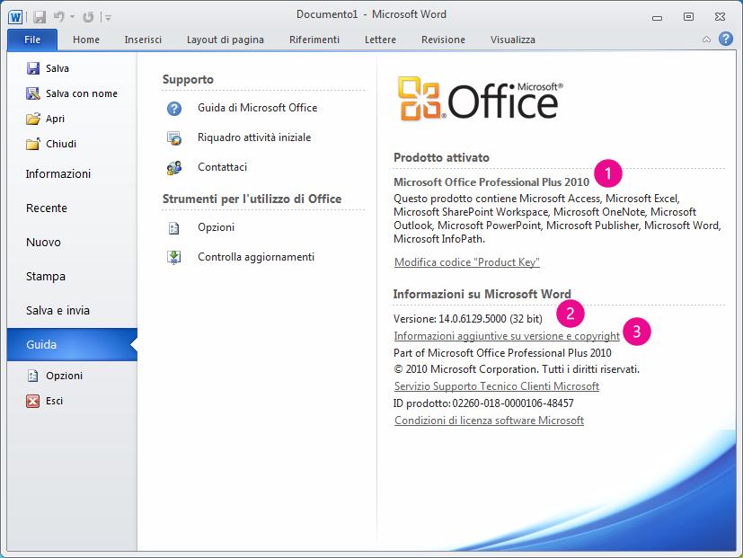 Informazioni sul prodotto visualizzate facendo clic su File > ? in Word 2010