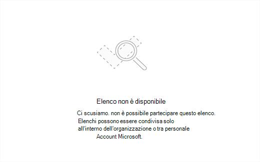 Schermata che mostra il messaggio di errore elenco non è disponibile
