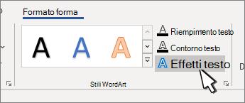Pulsante effetti testo stili WordArt evidenziato
