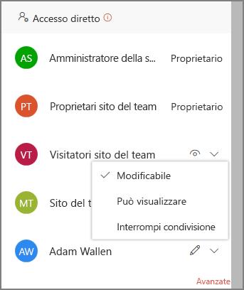 Screenshot dei collegamenti di accesso diretto