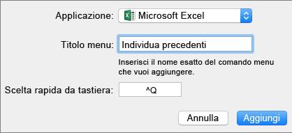 Esempio di scelta rapida da tastiera personalizzata di Office 2016 per Mac