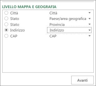 Dati geografici e livello della mappa nel riquadro attività