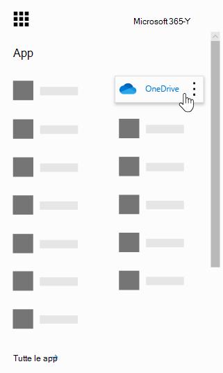 Icona di avvio delle app di Office 365 con l'app OneDrive evidenziata