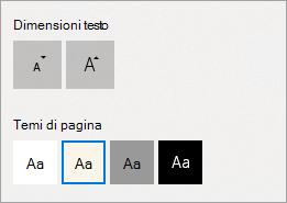 Temi di dimensioni e la pagina di testo nella visualizzazione di lettura