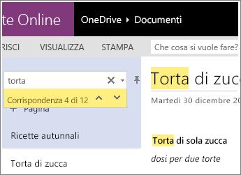 Screenshot della corrispondenze dei termini di ricerca in OneNote Online.