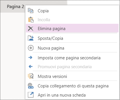 Elimina pagina in OneNote Online