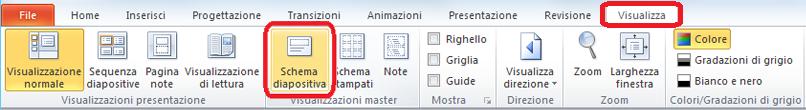Scheda Visualizza della finestra di PowerPoint, in cui è possibile passare alla visualizzazione schema diapositiva