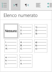 Opzioni Elenchi numerati