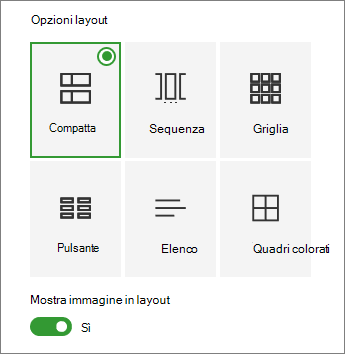 Opzioni di layout collegamenti rapidi