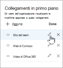 Modifica di un collegamento in primo piano