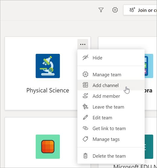 Selezionare Visualizza team e quindi Aggiungi canale.