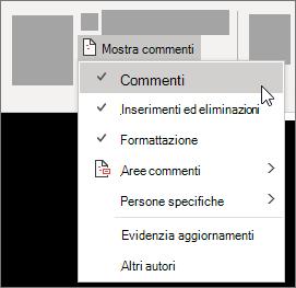 Visualizzare le opzioni dell'elenco di commenti