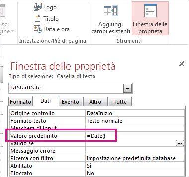 Pagina delle proprietà che mostra la proprietà Valore predefinito impostata su Date().
