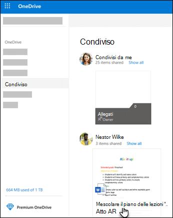 Cartelle condivise di OneDrive