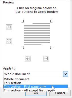 Visualizza le opzioni di Applica a nella finestra di dialogo Bordi e sfondo