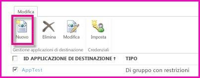 Schermata della pagina Interfaccia di amministrazione di SharePoint Online per configurare un'applicazione di destinazione di archiviazione sicura.