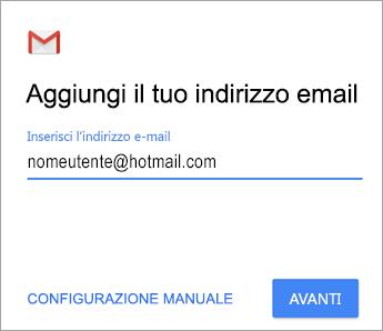 Aggiungere l'indirizzo di posta elettronica