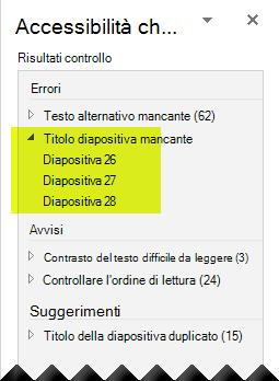 Verifica accessibilità indica se la presentazione non contiene titoli delle diapositive mancanti.