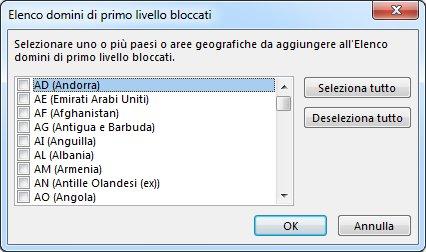finestra di dialogo elenco domini di primo livello bloccati