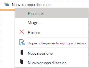 Finestra di dialogo Rinomina gruppo di sezioni in OneNote per Windows