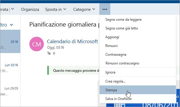 Screenshot del menu Altre azioni con il cursore sul pulsante Stampa