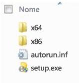 Struttura delle cartelle della selezione piattaforma per l'installazione di Office 2010 a 64 bit.