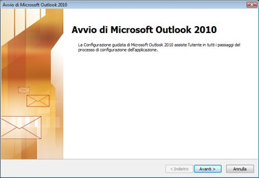 Finestra di avvio di Outlook 2010