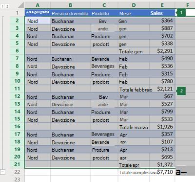 Struttura delle righe in Excel Online