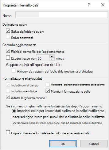 Esempio della finestra di dialogo Proprietà intervallo dati esterno