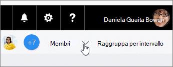 Fare clic su membri per un elenco a discesa, quindi trascinare un membro a un'attività