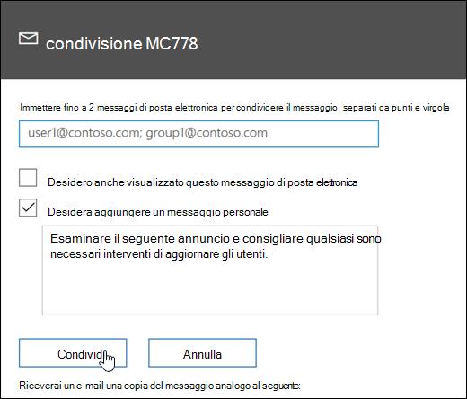 Schermata del messaggio di condivisione dello schermo