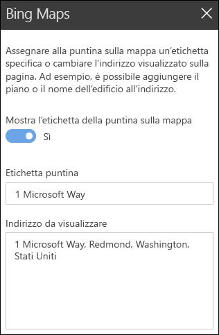 Casella degli strumenti della web part Bing Maps