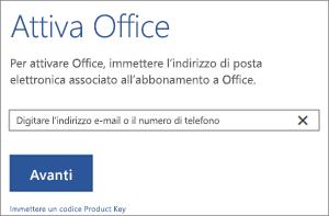 Mostra la finestra di dialogo Attiva a cui è possibile accedere per attivare Office