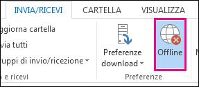 Opzione Modalità offline nella scheda Invia/Ricevi