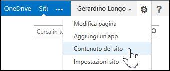 Selezionare Contenuto del sito dal menu con l'icona a forma di ingranaggio nella pagina Dettagli personali