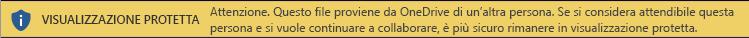 Visualizzazione protetta per i documenti aperti dallo spazio di archiviazione di OneDrive di un altro utente