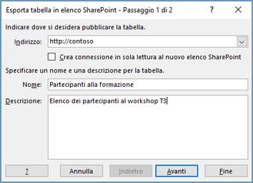 finestra di dialogo della procedura guidata di esportazione in SharePoint