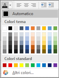 Menu Colore carattere in Excel for Windows desktop.