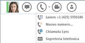 Schermata dell'opzione per eseguire una chiamata