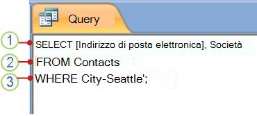 Scheda di oggetto SQL con istruzione SELECT