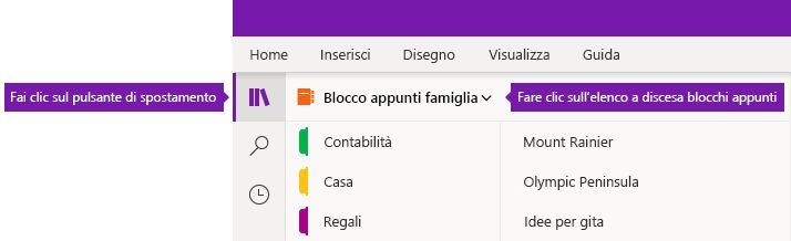 Espansione dell'elenco Blocchi appunti in OneNote per Windows 10