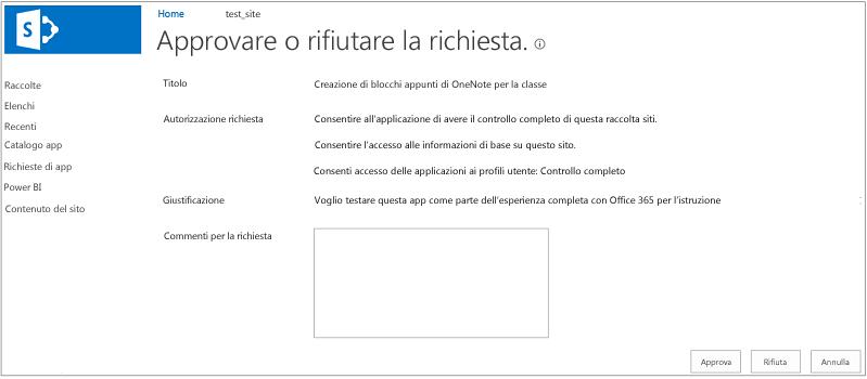 Screenshot che mostra la finestra di dialogo di approvazione o rifiuto della richiesta di app